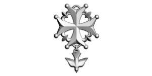 La croix huguenote est à quatre branches égales, dérivant de la croix de Malte et de celle du Languedoc. Il a fréquemment été souligné que la croix ressemble à celle du Saint-Esprit, ordre institué par Henri III,Le pendentif représente une colombe ou « Saint-Esprit » en vol. Elle est, bien sûr, colombe de la Pentecôte.